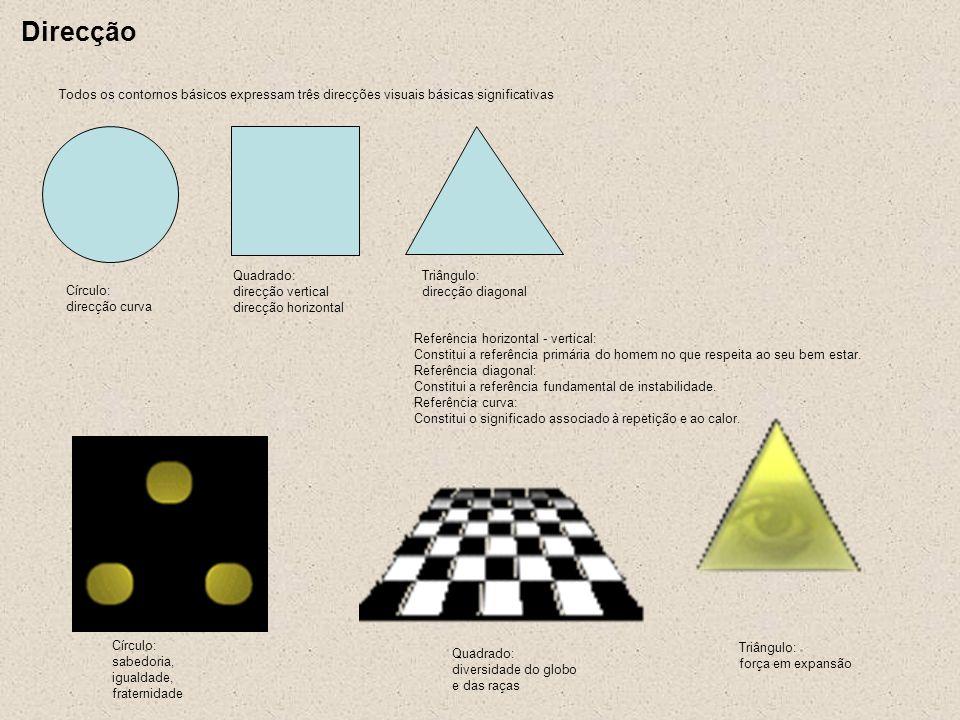 Direcção Todos os contornos básicos expressam três direcções visuais básicas significativas. Triângulo: direcção diagonal.