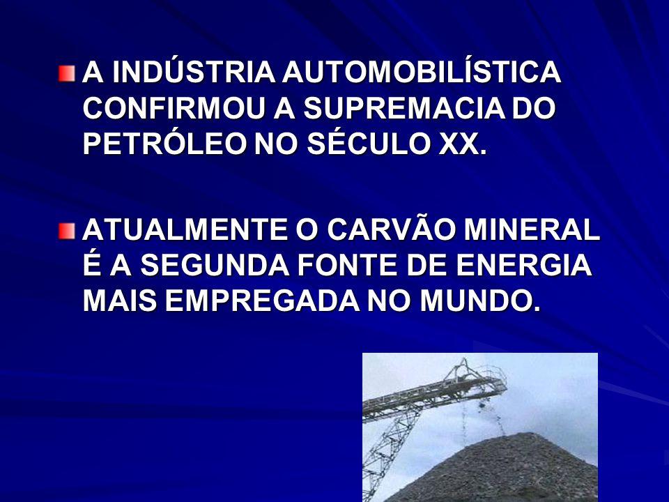 A INDÚSTRIA AUTOMOBILÍSTICA CONFIRMOU A SUPREMACIA DO PETRÓLEO NO SÉCULO XX.