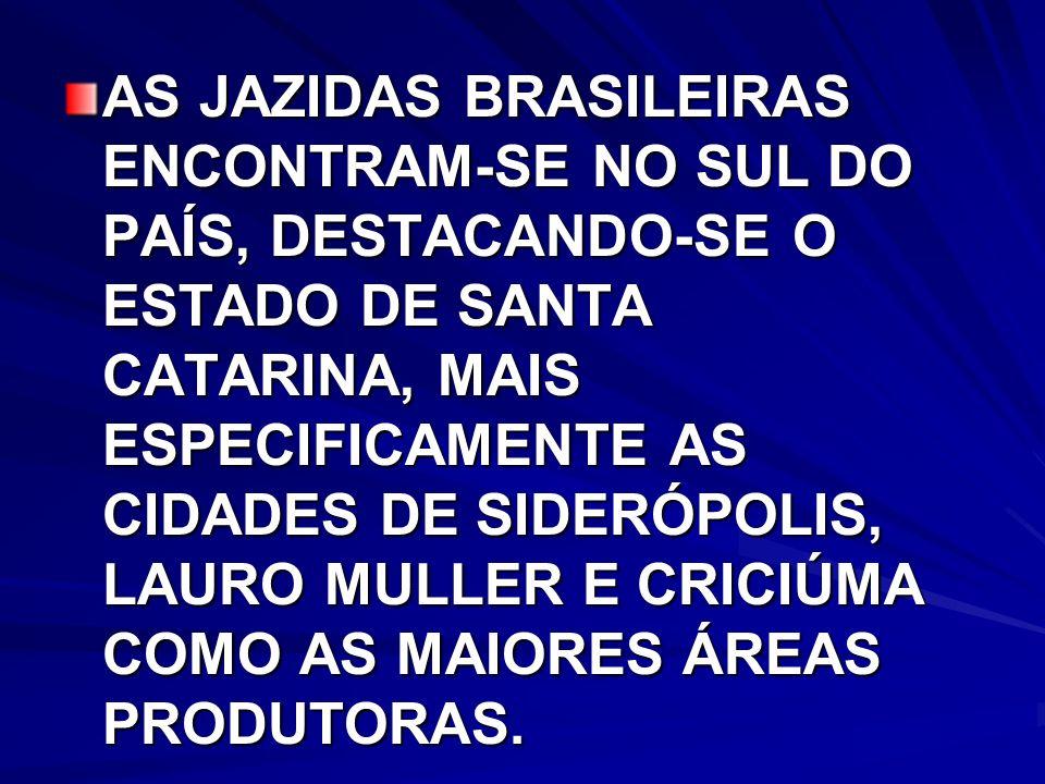 AS JAZIDAS BRASILEIRAS ENCONTRAM-SE NO SUL DO PAÍS, DESTACANDO-SE O ESTADO DE SANTA CATARINA, MAIS ESPECIFICAMENTE AS CIDADES DE SIDERÓPOLIS, LAURO MULLER E CRICIÚMA COMO AS MAIORES ÁREAS PRODUTORAS.