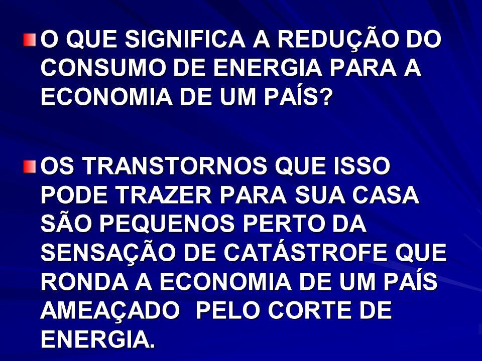 O QUE SIGNIFICA A REDUÇÃO DO CONSUMO DE ENERGIA PARA A ECONOMIA DE UM PAÍS