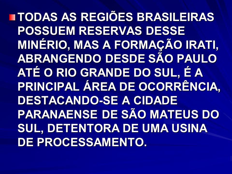 TODAS AS REGIÕES BRASILEIRAS POSSUEM RESERVAS DESSE MINÉRIO, MAS A FORMAÇÃO IRATI, ABRANGENDO DESDE SÃO PAULO ATÉ O RIO GRANDE DO SUL, É A PRINCIPAL ÁREA DE OCORRÊNCIA, DESTACANDO-SE A CIDADE PARANAENSE DE SÃO MATEUS DO SUL, DETENTORA DE UMA USINA DE PROCESSAMENTO.