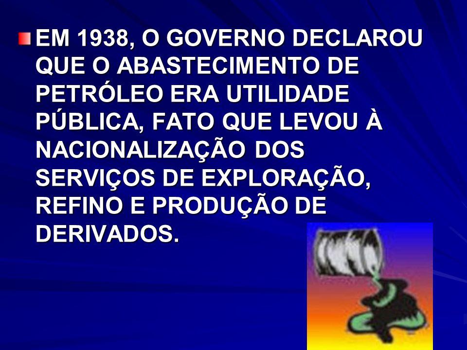 EM 1938, O GOVERNO DECLAROU QUE O ABASTECIMENTO DE PETRÓLEO ERA UTILIDADE PÚBLICA, FATO QUE LEVOU À NACIONALIZAÇÃO DOS SERVIÇOS DE EXPLORAÇÃO, REFINO E PRODUÇÃO DE DERIVADOS.