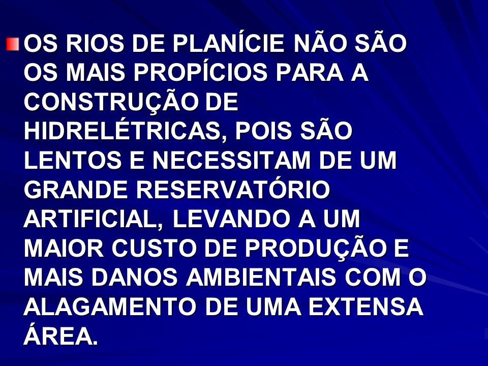 OS RIOS DE PLANÍCIE NÃO SÃO OS MAIS PROPÍCIOS PARA A CONSTRUÇÃO DE HIDRELÉTRICAS, POIS SÃO LENTOS E NECESSITAM DE UM GRANDE RESERVATÓRIO ARTIFICIAL, LEVANDO A UM MAIOR CUSTO DE PRODUÇÃO E MAIS DANOS AMBIENTAIS COM O ALAGAMENTO DE UMA EXTENSA ÁREA.
