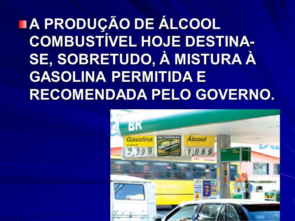 A PRODUÇÃO DE ÁLCOOL COMBUSTÍVEL HOJE DESTINA-SE, SOBRETUDO, À MISTURA À GASOLINA PERMITIDA E RECOMENDADA PELO GOVERNO.
