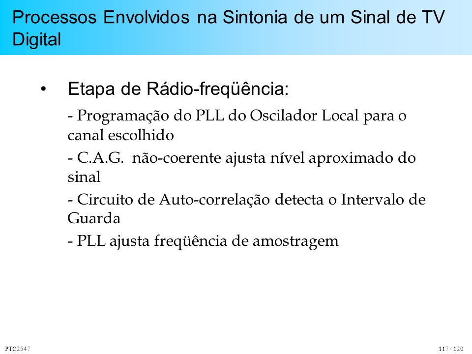 Processos Envolvidos na Sintonia de um Sinal de TV Digital