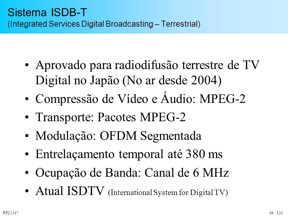 Compressão de Vídeo e Áudio: MPEG-2 Transporte: Pacotes MPEG-2