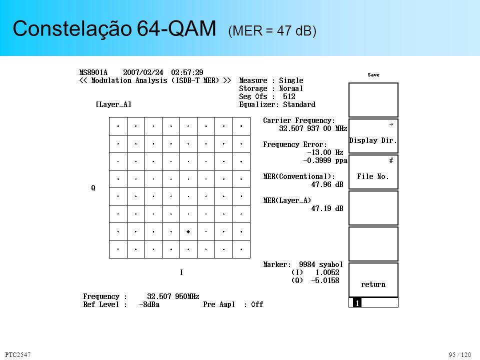 Constelação 64-QAM (MER = 47 dB)