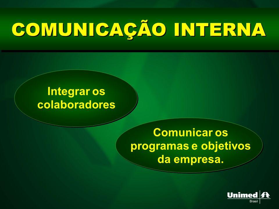 COMUNICAÇÃO INTERNA Integrar os colaboradores