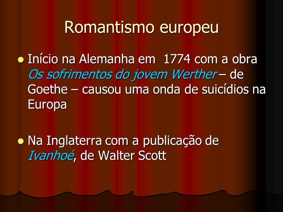 Romantismo europeu Início na Alemanha em 1774 com a obra Os sofrimentos do jovem Werther – de Goethe – causou uma onda de suicídios na Europa.
