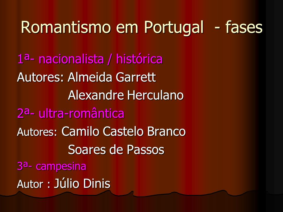 Romantismo em Portugal - fases