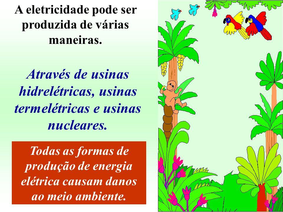 A eletricidade pode ser produzida de várias maneiras.