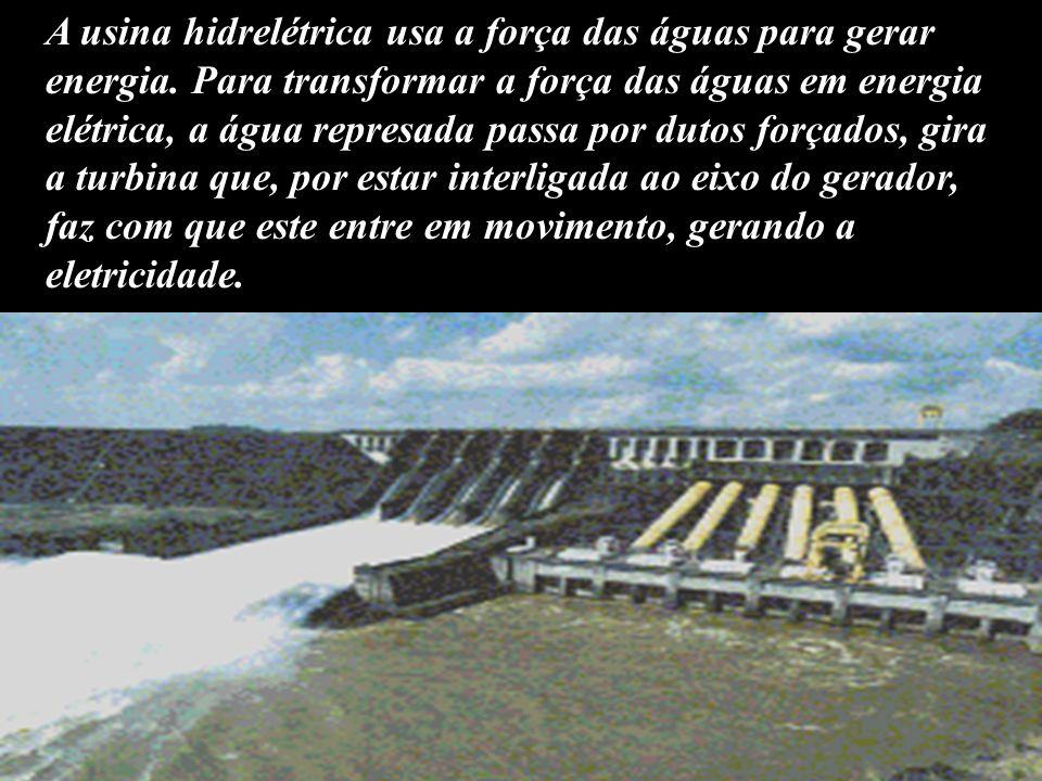 A usina hidrelétrica usa a força das águas para gerar energia