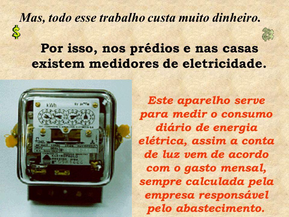 Por isso, nos prédios e nas casas existem medidores de eletricidade.