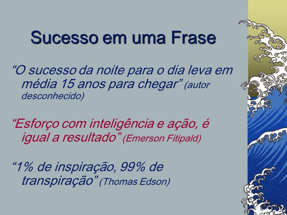 Sucesso em uma Frase O sucesso da noite para o dia leva em média 15 anos para chegar (autor desconhecido)