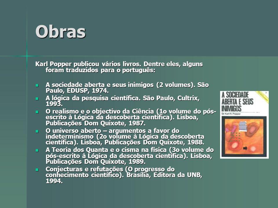 Obras Karl Popper publicou vários livros. Dentre eles, alguns foram traduzidos para o português: