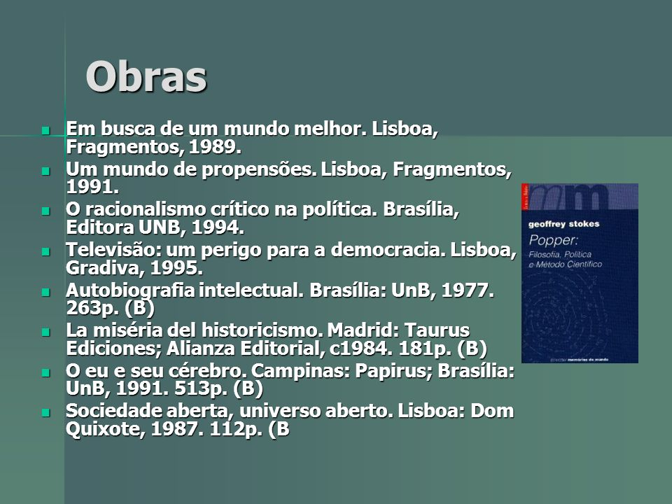 Obras Em busca de um mundo melhor. Lisboa, Fragmentos, 1989.