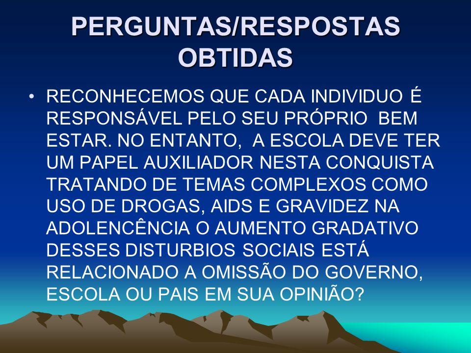 PERGUNTAS/RESPOSTAS OBTIDAS
