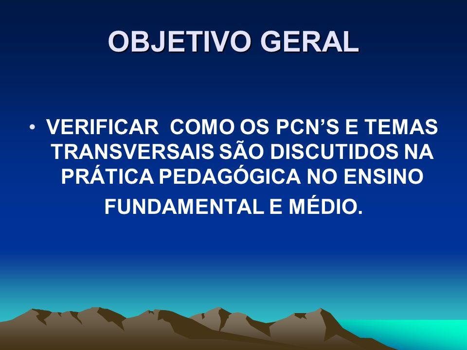 OBJETIVO GERAL VERIFICAR COMO OS PCN'S E TEMAS TRANSVERSAIS SÃO DISCUTIDOS NA PRÁTICA PEDAGÓGICA NO ENSINO.