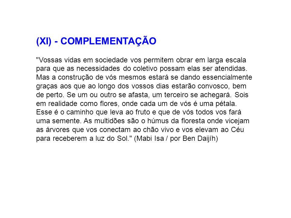 (XI) - COMPLEMENTAÇÃO