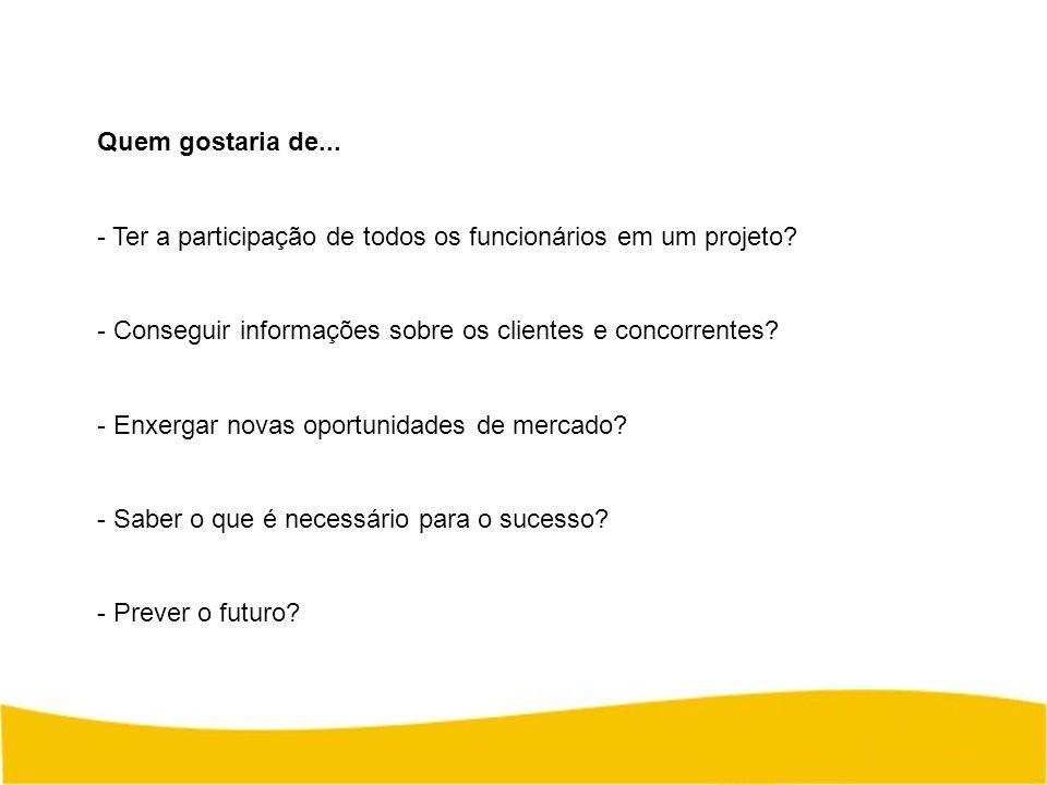 Quem gostaria de... Ter a participação de todos os funcionários em um projeto Conseguir informações sobre os clientes e concorrentes