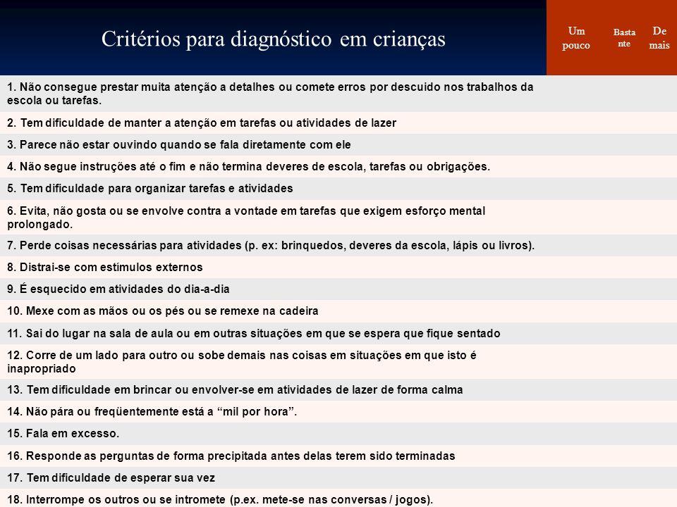 Critérios para diagnóstico em crianças