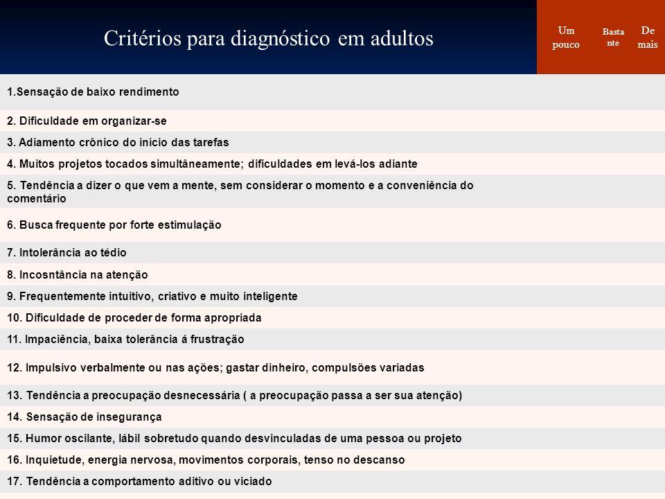 Critérios para diagnóstico em adultos