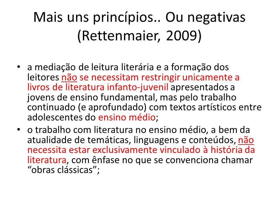 Mais uns princípios.. Ou negativas (Rettenmaier, 2009)