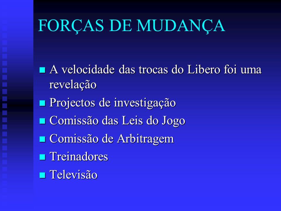 FORÇAS DE MUDANÇA A velocidade das trocas do Libero foi uma revelação