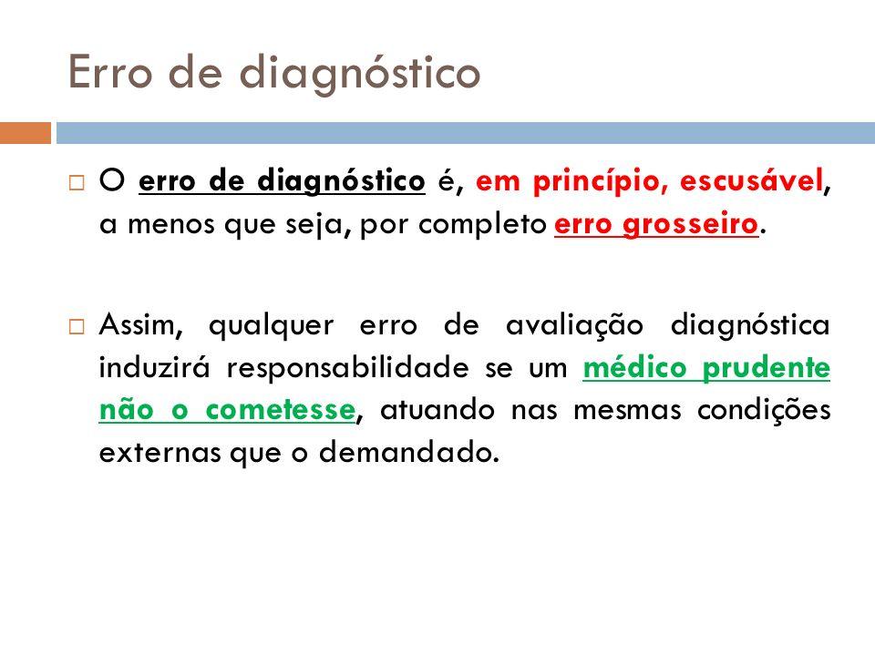 Erro de diagnóstico O erro de diagnóstico é, em princípio, escusável, a menos que seja, por completo erro grosseiro.