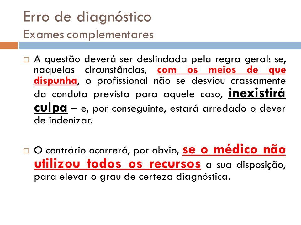 Erro de diagnóstico Exames complementares