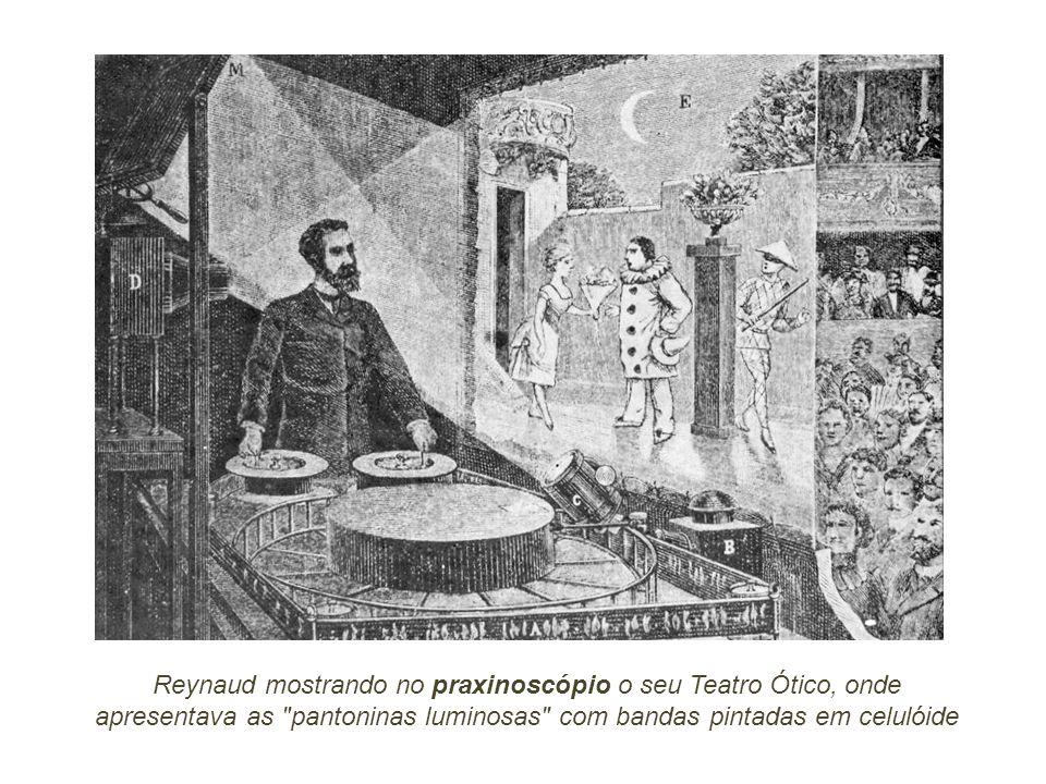 Reynaud mostrando no praxinoscópio o seu Teatro Ótico, onde apresentava as pantoninas luminosas com bandas pintadas em celulóide