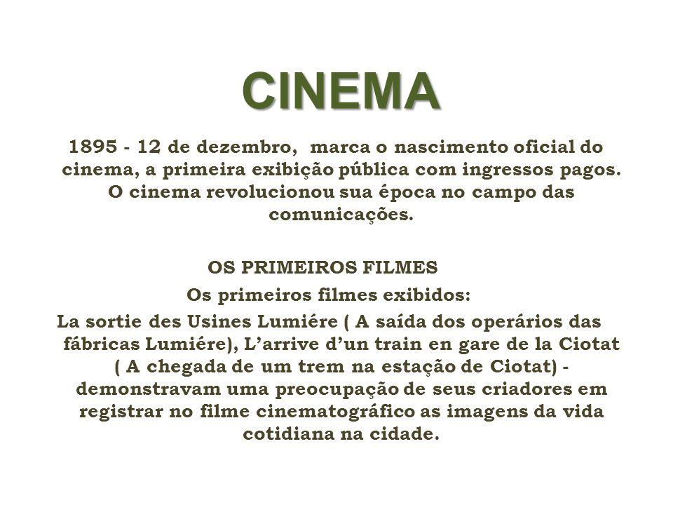 Os primeiros filmes exibidos: