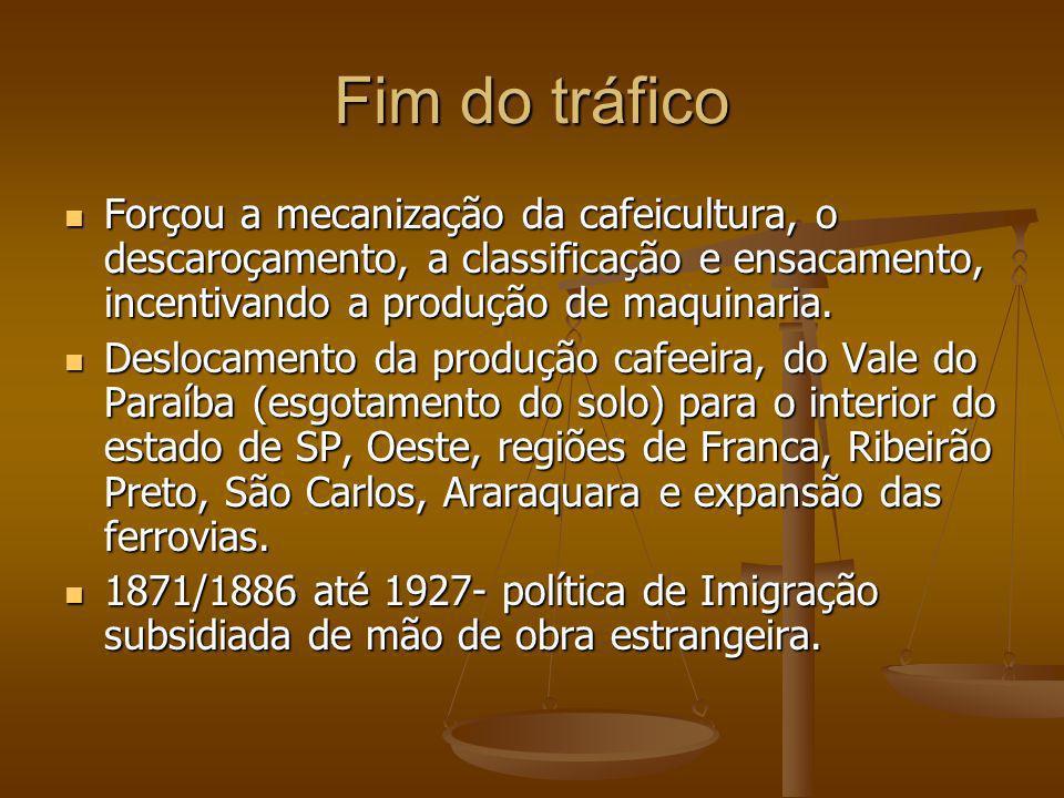 Fim do tráfico Forçou a mecanização da cafeicultura, o descaroçamento, a classificação e ensacamento, incentivando a produção de maquinaria.