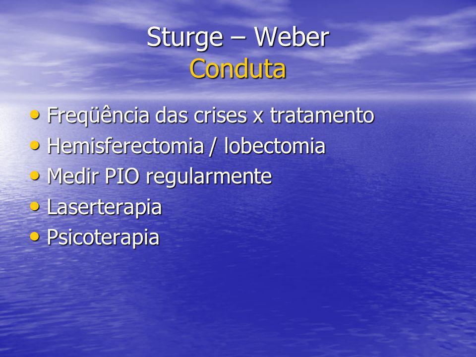 Sturge – Weber Conduta Freqüência das crises x tratamento