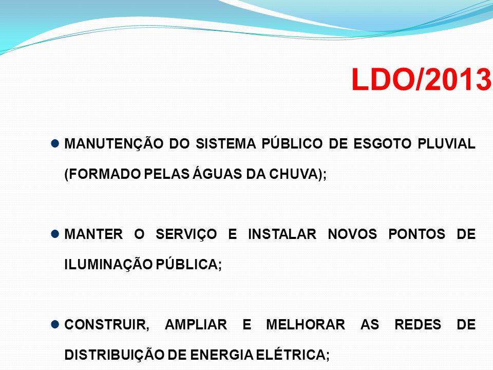 LDO/2013 MANUTENÇÃO DO SISTEMA PÚBLICO DE ESGOTO PLUVIAL (FORMADO PELAS ÁGUAS DA CHUVA);