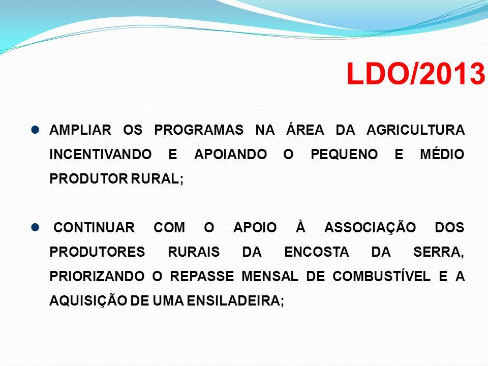 LDO/2013 AMPLIAR OS PROGRAMAS NA ÁREA DA AGRICULTURA INCENTIVANDO E APOIANDO O PEQUENO E MÉDIO PRODUTOR RURAL;
