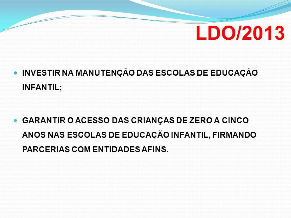 LDO/2013 INVESTIR NA MANUTENÇÃO DAS ESCOLAS DE EDUCAÇÃO INFANTIL;