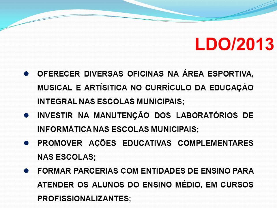 LDO/2013 OFERECER DIVERSAS OFICINAS NA ÁREA ESPORTIVA, MUSICAL E ARTÍSITICA NO CURRÍCULO DA EDUCAÇÃO INTEGRAL NAS ESCOLAS MUNICIPAIS;