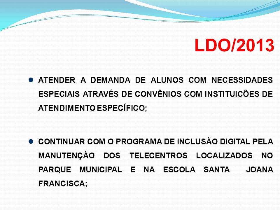 LDO/2013 ATENDER A DEMANDA DE ALUNOS COM NECESSIDADES ESPECIAIS ATRAVÉS DE CONVÊNIOS COM INSTITUIÇÕES DE ATENDIMENTO ESPECÍFICO;