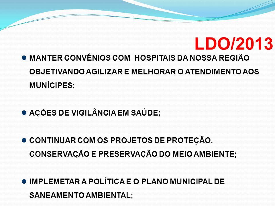 LDO/2013 MANTER CONVÊNIOS COM HOSPITAIS DA NOSSA REGIÃO OBJETIVANDO AGILIZAR E MELHORAR O ATENDIMENTO AOS MUNÍCIPES;
