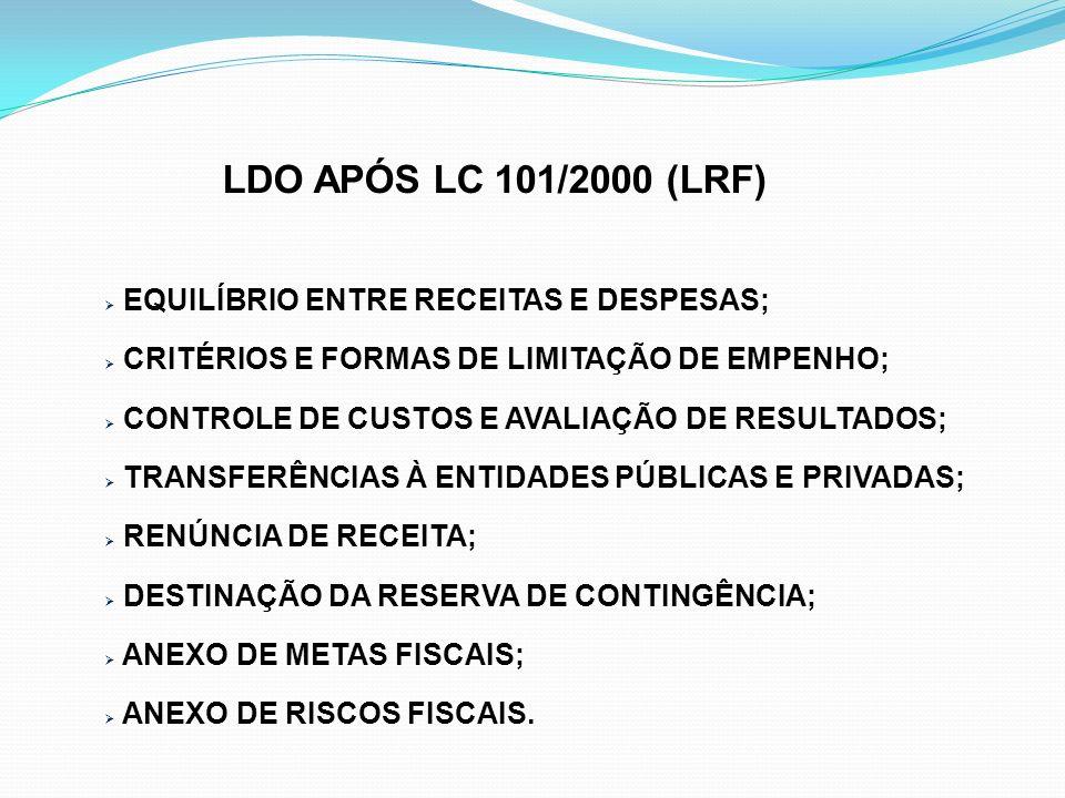 LDO APÓS LC 101/2000 (LRF) EQUILÍBRIO ENTRE RECEITAS E DESPESAS;
