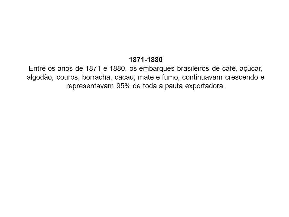 1871-1880 Entre os anos de 1871 e 1880, os embarques brasileiros de café, açúcar, algodão, couros, borracha, cacau, mate e fumo, continuavam crescendo e representavam 95% de toda a pauta exportadora.