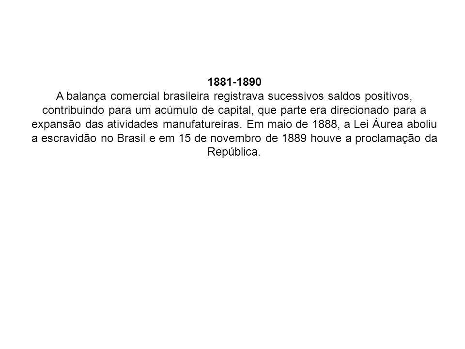 1881-1890 A balança comercial brasileira registrava sucessivos saldos positivos, contribuindo para um acúmulo de capital, que parte era direcionado para a expansão das atividades manufatureiras.
