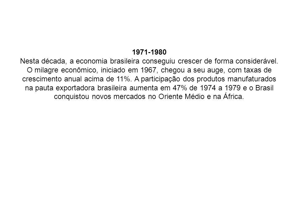 1971-1980 Nesta década, a economia brasileira conseguiu crescer de forma considerável.