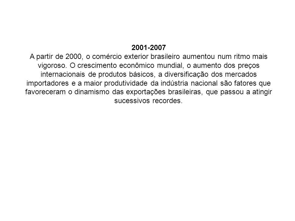 2001-2007 A partir de 2000, o comércio exterior brasileiro aumentou num ritmo mais vigoroso.