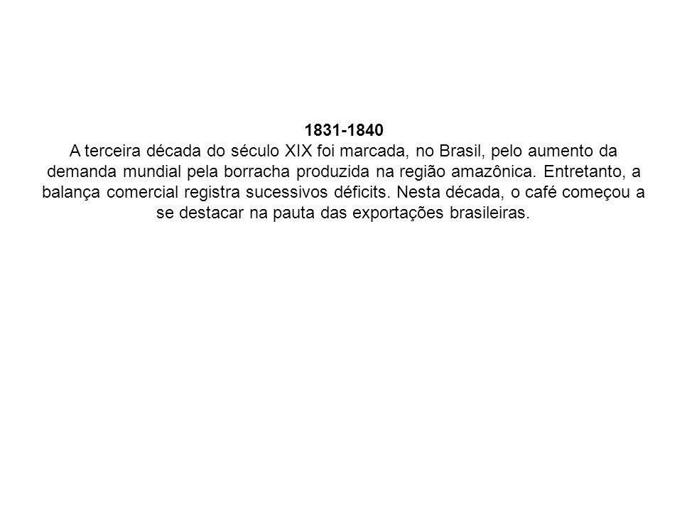 1831-1840 A terceira década do século XIX foi marcada, no Brasil, pelo aumento da demanda mundial pela borracha produzida na região amazônica.