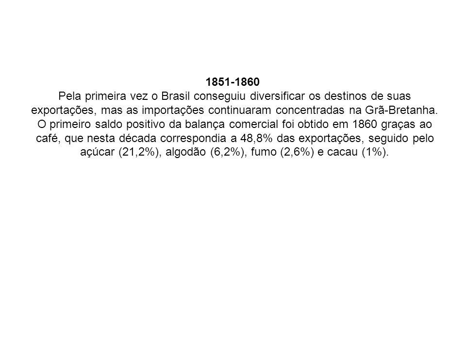 1851-1860 Pela primeira vez o Brasil conseguiu diversificar os destinos de suas exportações, mas as importações continuaram concentradas na Grã-Bretanha.