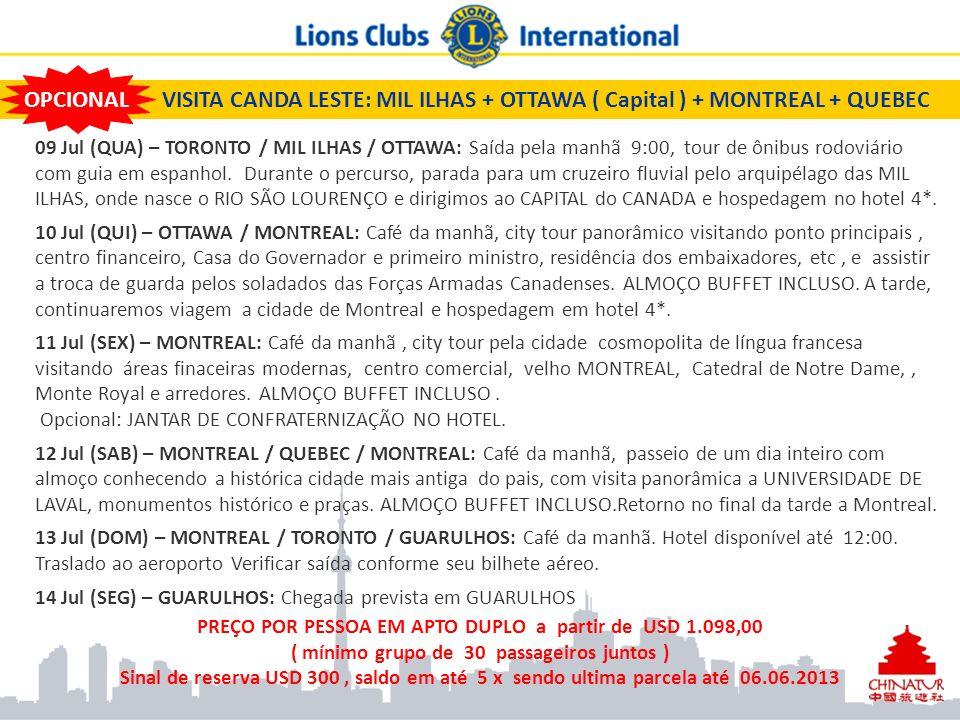VISITA CANDA LESTE: MIL ILHAS + OTTAWA ( Capital ) + MONTREAL + QUEBEC