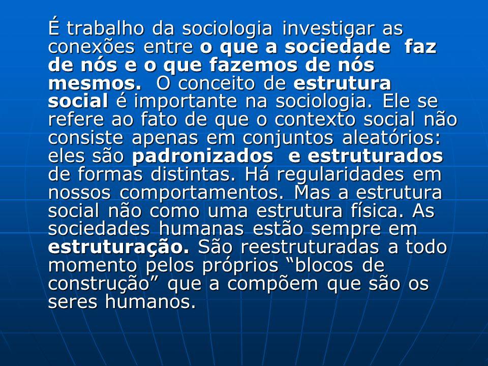 É trabalho da sociologia investigar as conexões entre o que a sociedade faz de nós e o que fazemos de nós mesmos.