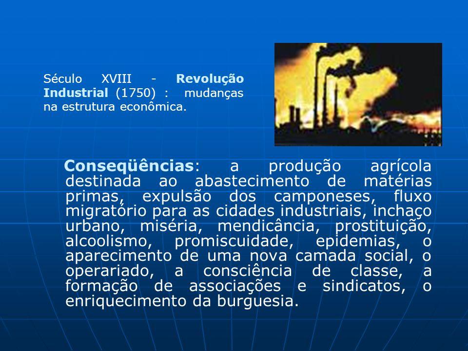 Século XVIII - Revolução Industrial (1750) : mudanças na estrutura econômica.